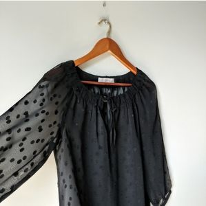 Loft ▪ Sheer Polka-Dot Blouse